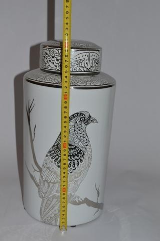 Round Jar with Silver Pattern Bird - Unique Wood