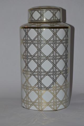Round Jar with Gold Pattern Large Criss Cross - Unique Wood