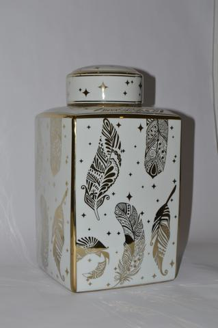 Square Jar with Gold Pattern - Unique Wood