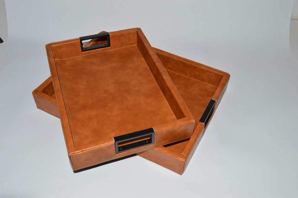 Brown Leather Trays Large - Unique Wood
