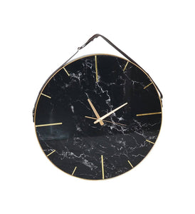 Glass Clock Marble Black
