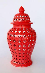 Extra Large  Red cut-out ginger jar 58x29cm