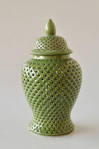 Green cut out ginger jar 45x23cm