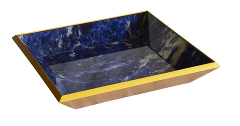 Glass tray square blue marble