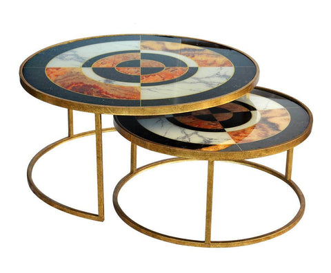 Glass Nesting Table Low Bulls EYE Set of 2 uniquewood lifestyle