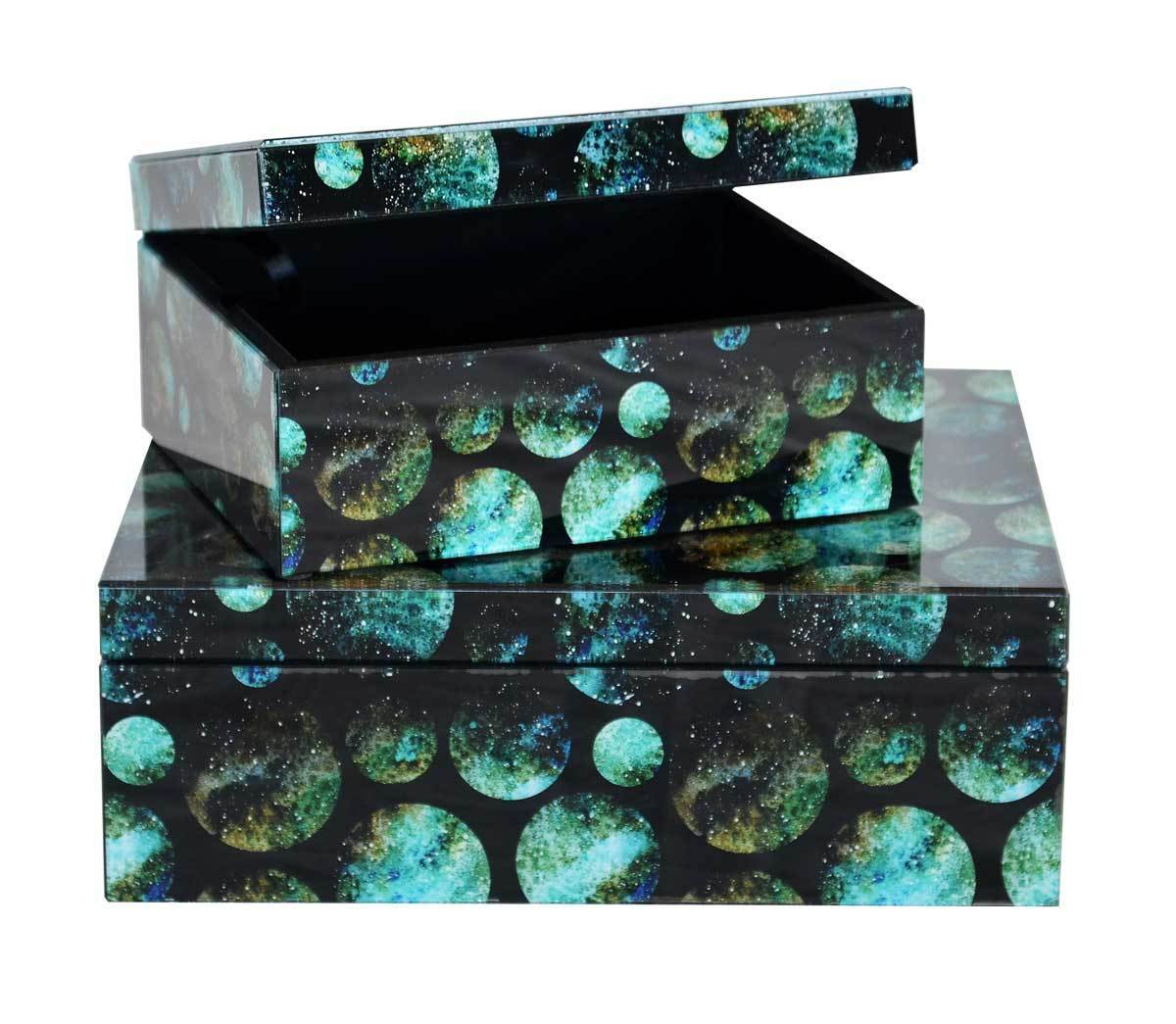 Glass box blue moon large set of two boxes
