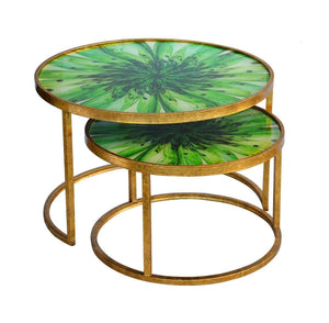 Glass table nesting low green flower small set of 2 uniquewood lifestyle