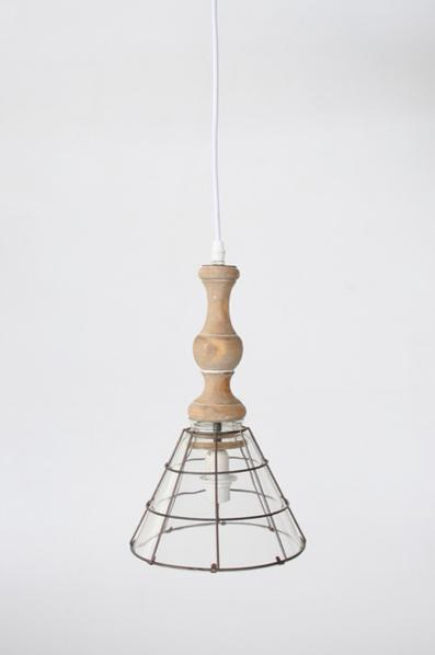 Hanging glass shade wood fitting 32X19CM