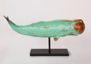 LARGE TURQUOISE WHALE ON STAND 39X76CM - Unique Wood