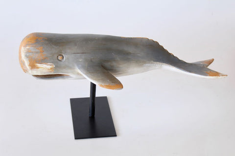 medium grey whale on stand 22x49cm