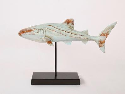 PALE BLUE SHARK ON STAND 29X45CM - Unique Wood