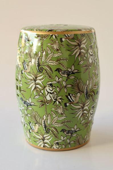 Green jungle design garden stool 45x30cm