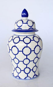 Blue chain geometric ginger jar 45x25cm