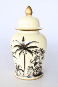 Cream ginger jar charcoal jungle design 45 x 25cm
