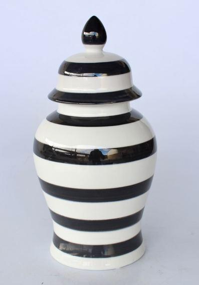 Large Black and white stripe ginger jar 45x25cm unique wood
