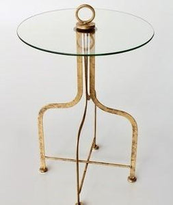 Round glass metal table 72X45CM