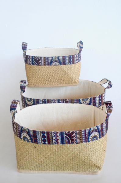 S\3 lined bamboo baskets with tribal blue trim 32X50X40CM unique wood lifestyle