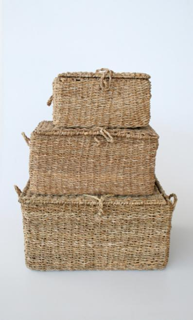 Set of 3 sea graas baskets 31X60X45CM unique wood lifestyle