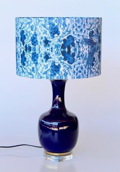NAVY BLUE GLASS LAMP WITH BLUE FLORAL SHADE 69X41CM - Uniquewood Lifestyle