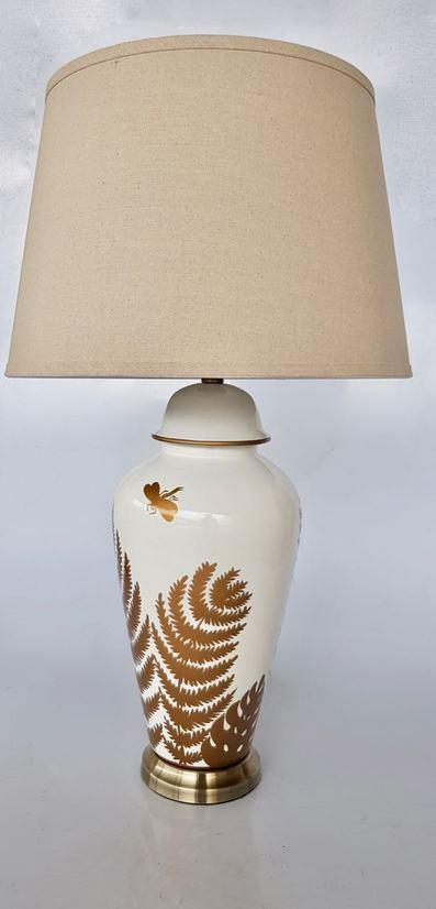 Cream and gold fern lamp with shade unique wood