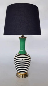 Green, black and white stripe lamp with black shade 79cm unique wood