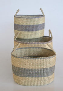 Sea grass basket set of 3 natural and lavender 30X40X30CM unique wood lifestyle