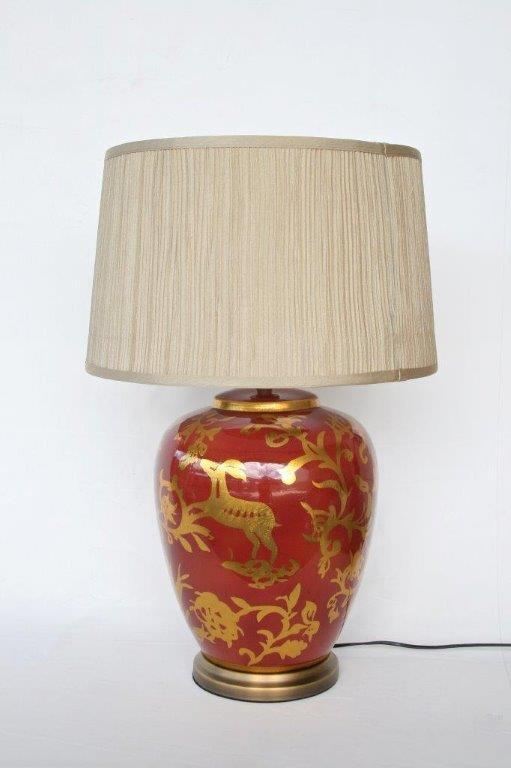 Red Gold Lamp and shade - Unique Wood