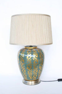 Teal Gold lamp and shade - Unique Wood