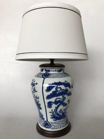Blue Chinese lamp - Unique Wood