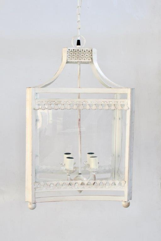 White hanging lantern - Unique Wood