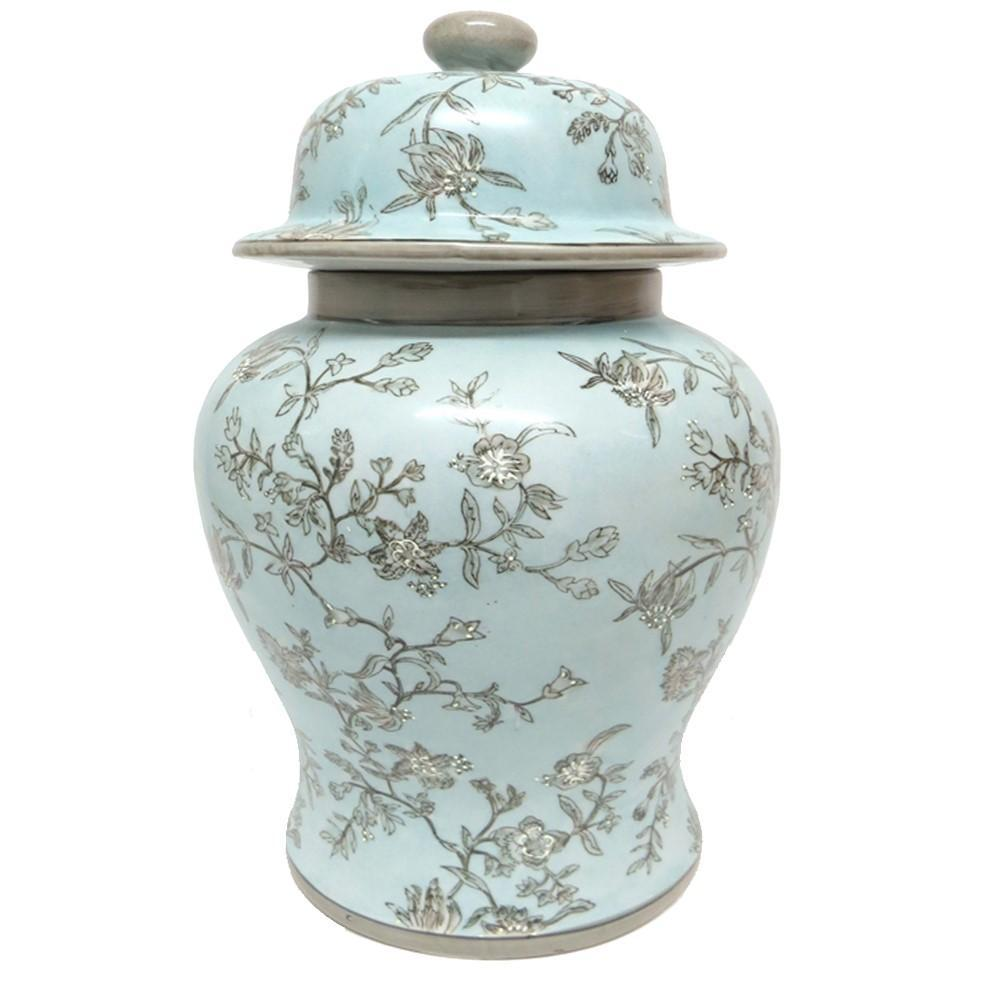 Blue ceramic ginger jar 48cmH x 30cmW