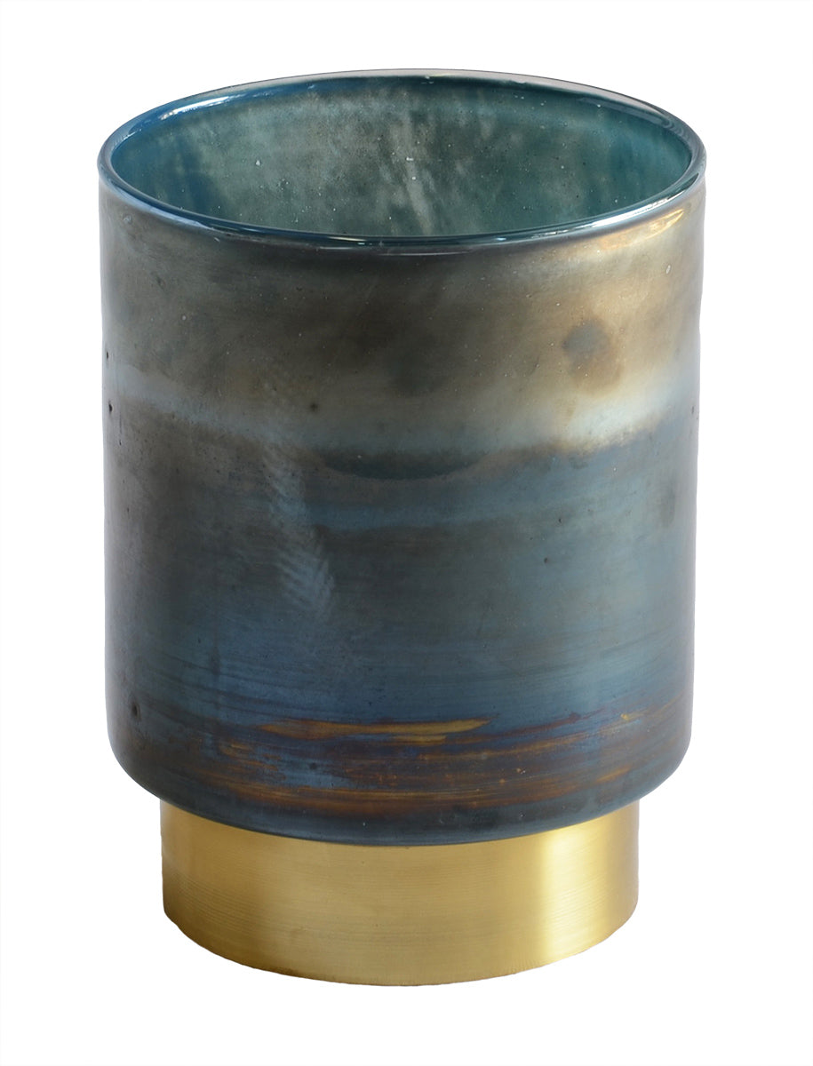 Wax candle holder blue
