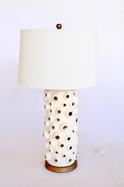WHITE CERAMIC BARNICLE LAMP BASE OFF WHITE SHADE Included 81X40CM - Unique Wood