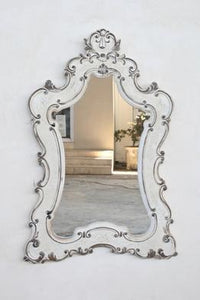 WHITE WASHED SHAPED MIRROR 124X76CM - Unique Wood