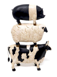 Pig, on sheep, on cow Animal stack 32cm(H)h x 23cm(L)