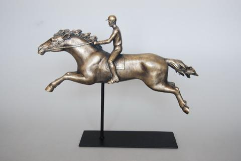 Jockey And Horse Bronze Sculpture - Unique Wood