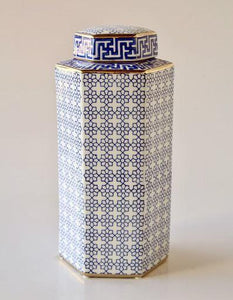 Tall blue and white geo jar with lid 38x17cm