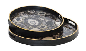 Glass tray black algate set of two
