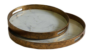 Glass tray marble white S/2 uniquewood
