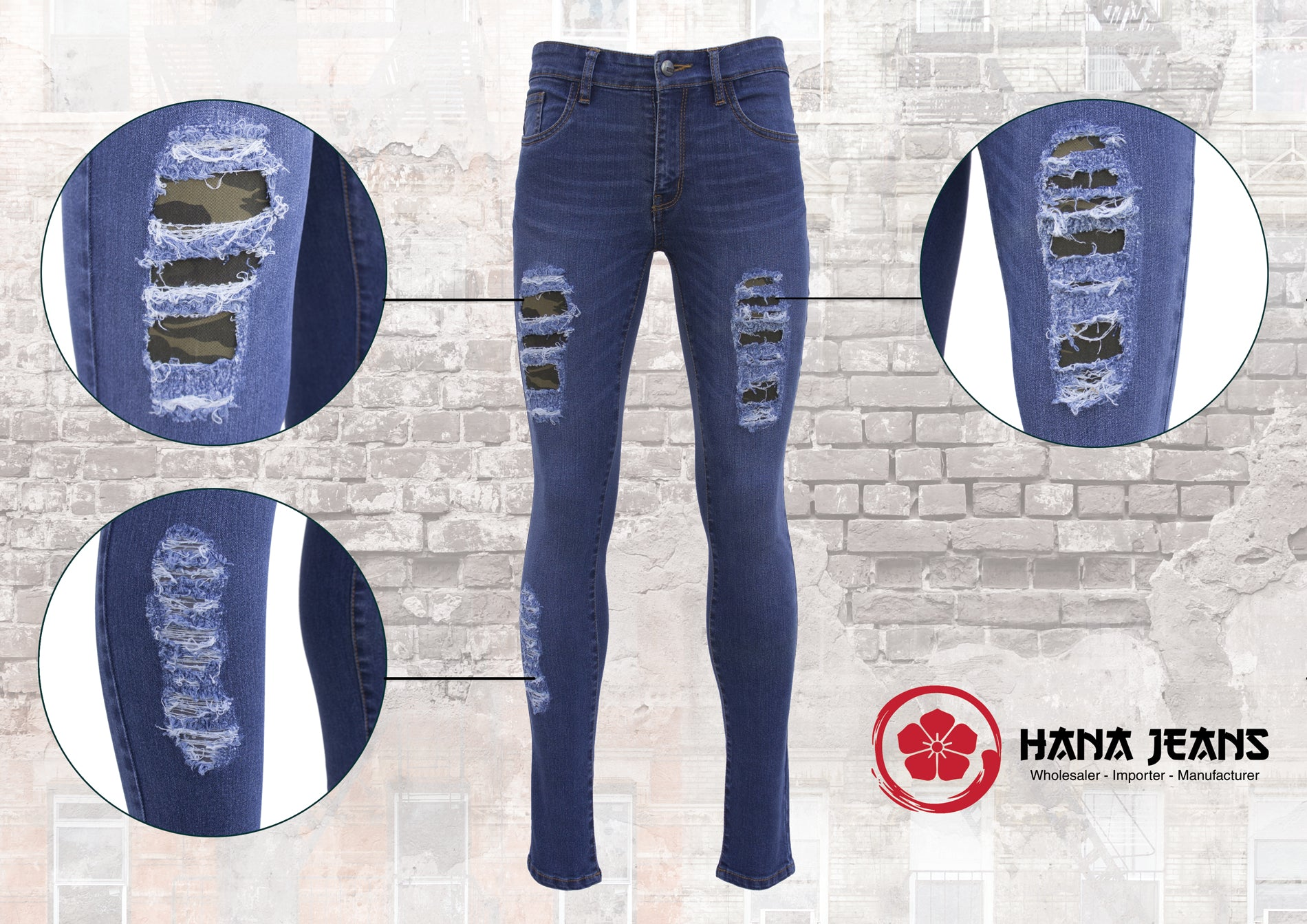 Women's Premium Denim with Distressed Camouflage Lining Accent.