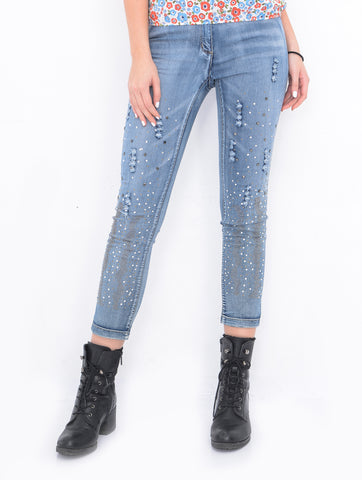 Women's Tear Drop Boyfriend Denim Jeans | Hana Jeans Wholesale