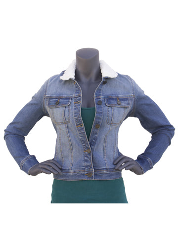 Lightweight Sherpa Collared Denim Jean Jacket | Hana Jeans Wholesale