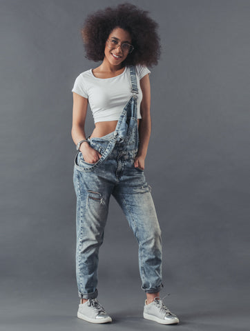Women's Relaxed Faded Denim Overalls | Hana Jeans Wholesale