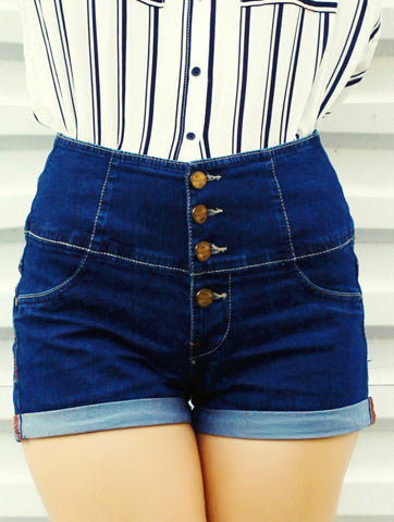 Women Button Front High Waist Dark Denim Short | Hana Jeans Wholesale