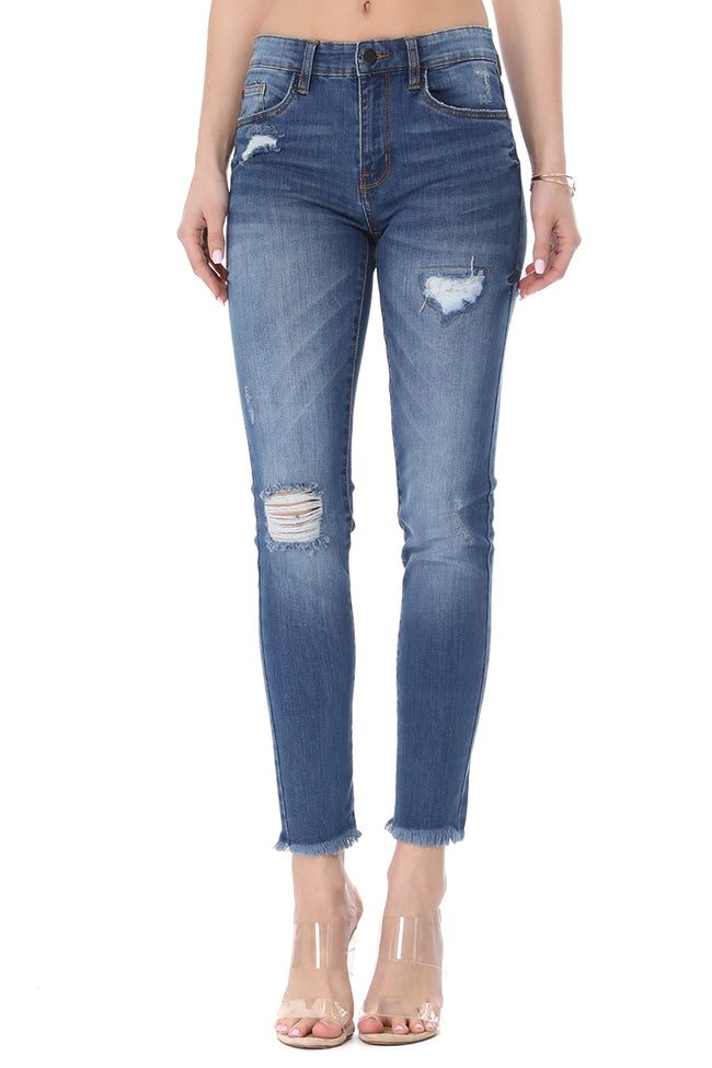 MikuRi 02 Women's Mid-Rise Frayed Distressed Skinny Fit Denim Jeans