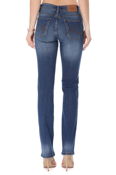 MikuRi 06 Women's 5 Pocket Mid-Rise Dark Skinny Fit Denim Jeans