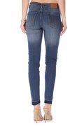 Mikuri 08 Women's Mid-Rise Raw Hem Distressed Skinny Fit Denim Jeans
