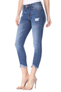 MikuRi 03 Women's Mid-Rise Frayed Distressed Skinny Fit Denim Jeans