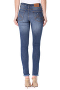 MikuRi 05 Women's Mid-Rise Raw Cuff Distressed Skinny Fit Denim Jeans