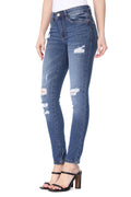 Mikuri 09 Women's 5 Pocket Mid-Rise Distressed Skinny Fit Denim Jeans